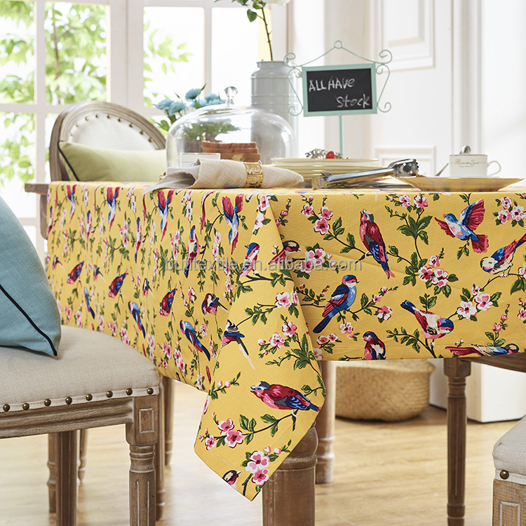 Table cloth Printed yellow flower bird print 100% Cotton tablecloths