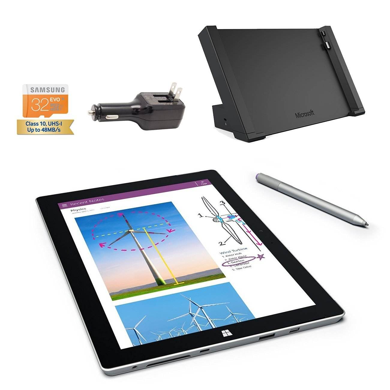 Microsoft Surface 3 Bundle - 5 Items: 128GB Wi-Fi Only Quard-Core 10.8-Inch Tablet, Original Pen, Surface Dock, Samsung 32GB SDHC Card and 2-in-1 Travel Charger