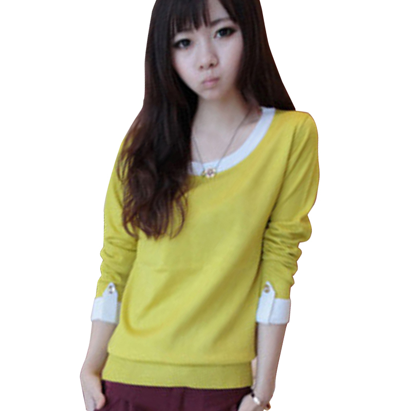 2015 Autumn T Shirt Women Tops Knitting O-Neck Tshirt Women Long-Sleeve Camisetas Casual Vetement Femme Plus Size M-XXL 5 Color