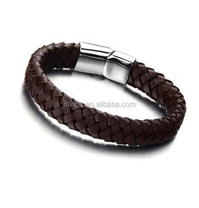 Braided Leather Bracelets For Men,Leather Bracelets Fashion Magnetic Clasp 7.5-8.5 Inch