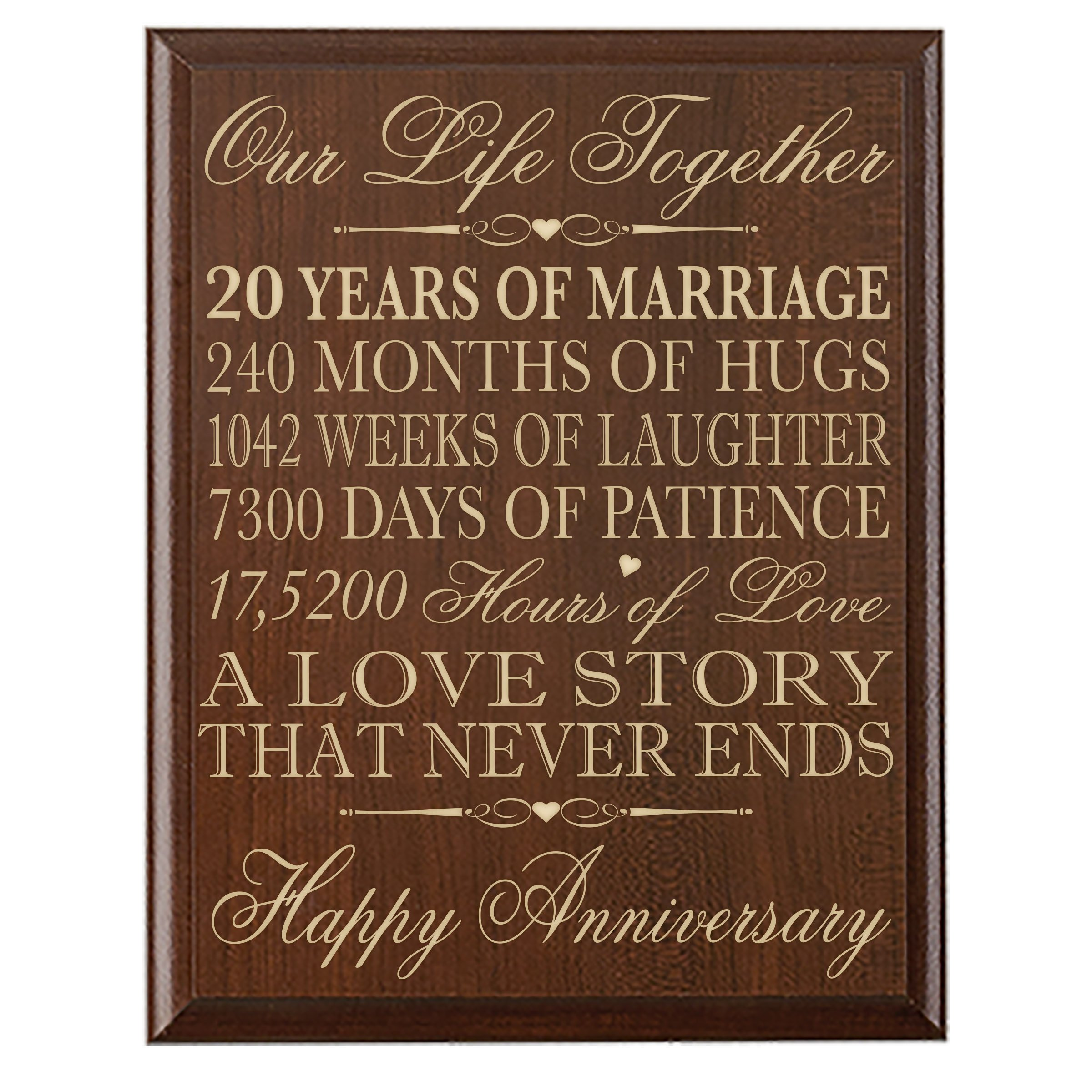 Get Quotations 20th Wedding Anniversary Gifts Wall Plaque For Her20th