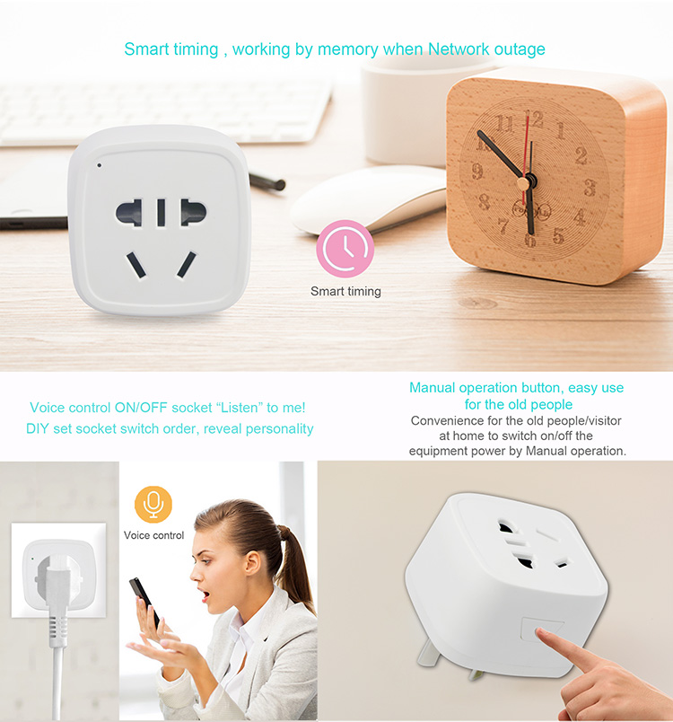 Home Automation 2.4GHz Wifi Smart Plugs Socket AU Compatible With Amazon Alexa And Google Home