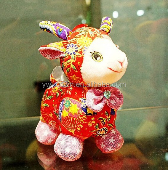 Red stuffed sheep & goat & lamb toys for lovers , smiling sheep toys for new year
