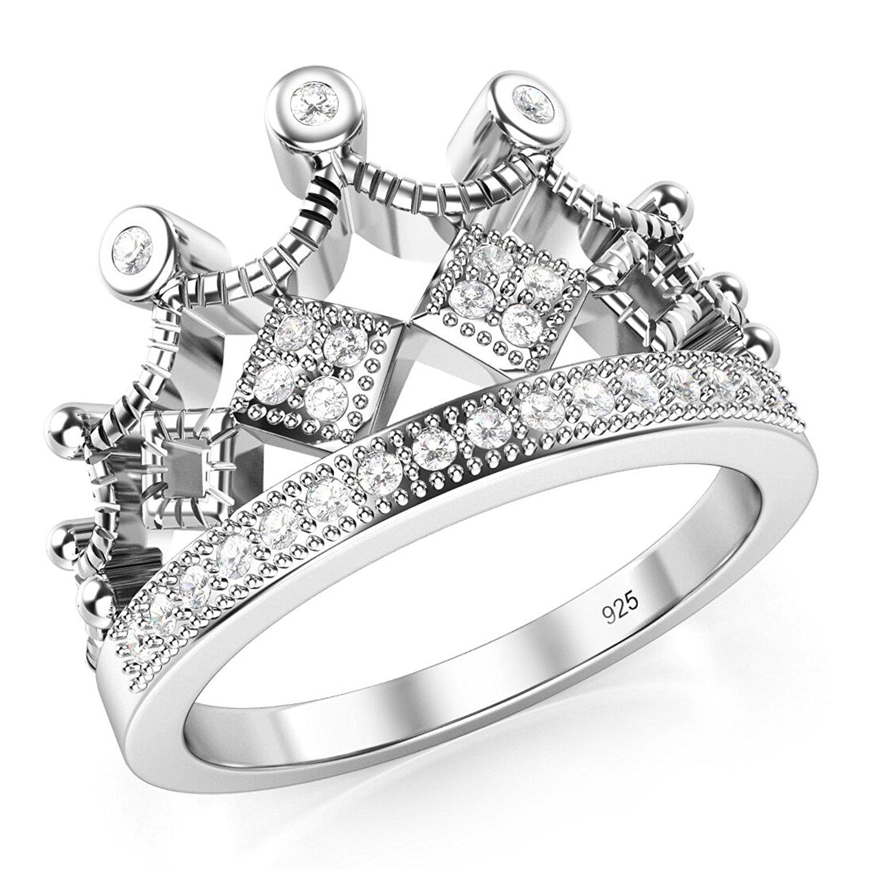 45cecc3db 925 Sterling Silver Cubic Zirconia Princess Crown Tiara CZ Band Ring