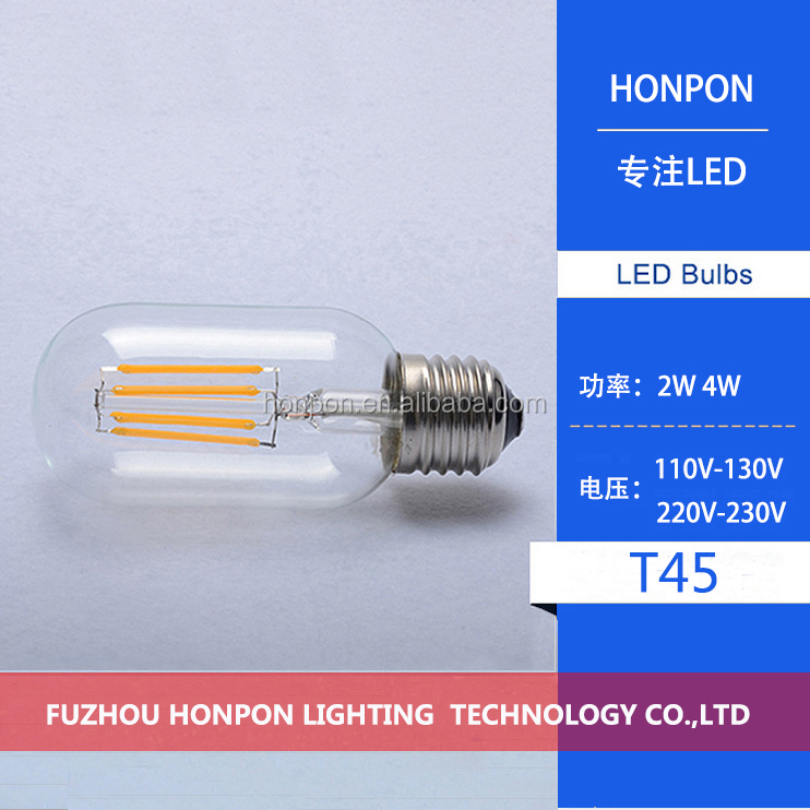 <strong>LED</strong> E27/E26 T45 2W Retro Vintage Edison Lamp Filament Tubular Light Bulb Dimmable Warm White 110/220V