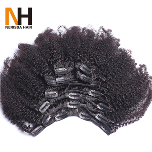 Afro Hair Clip In Human Hair Extensions African Kinky Curly 4B 4C Remy 100% Human Hair Natural Black