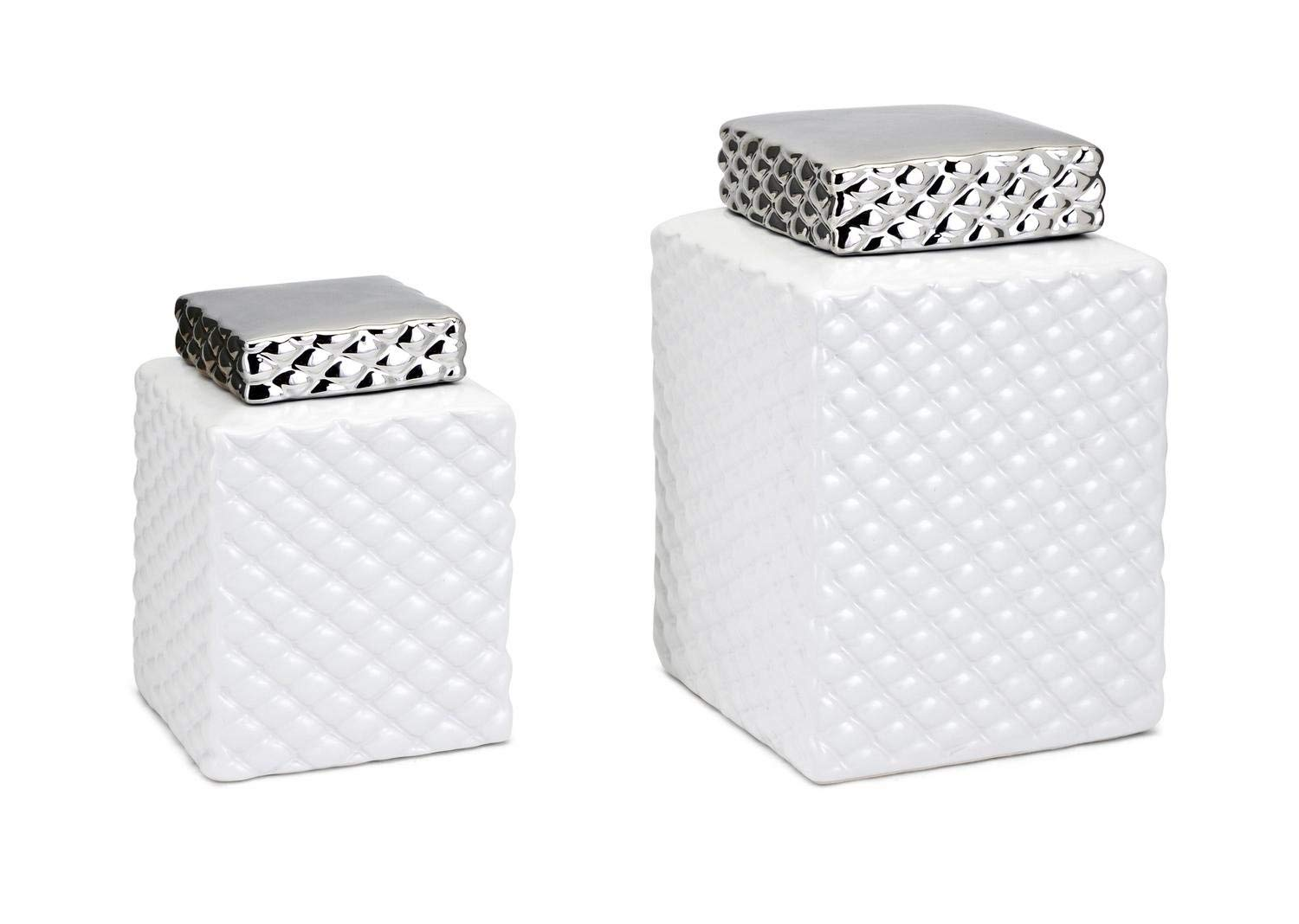 CC Home Furnishings Set of 2 White and Silver Contemporary Pattern Decorative Rectangular Canisters 11""
