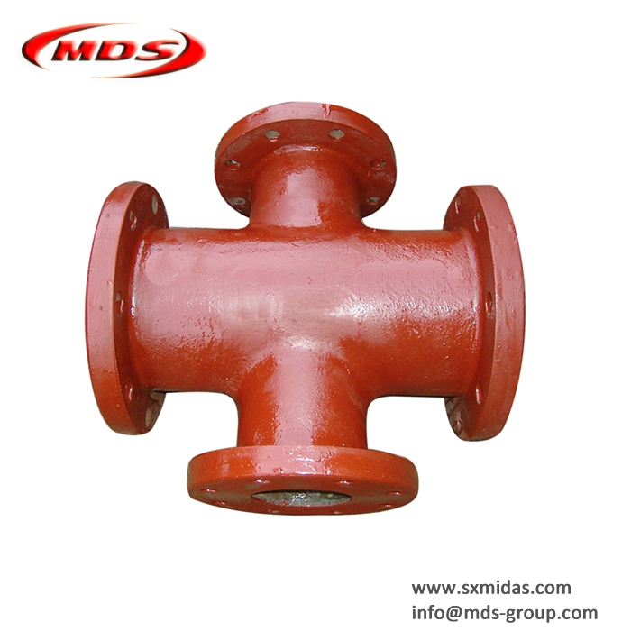 Red epoxy ductile iron di pipe fittings all flanged cross