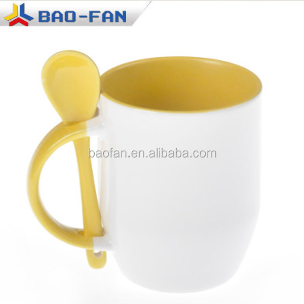 11OZ Blank inner colors sublimation ceramic spoon mug