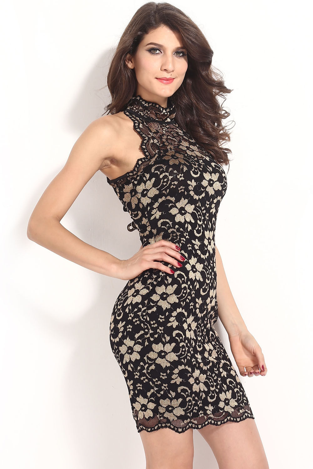 2015 New Hot Summer Women O-neck Sleeveless Dress Casual Halter Neck Vintage Lace Prom Party Wear Sheath Dresses