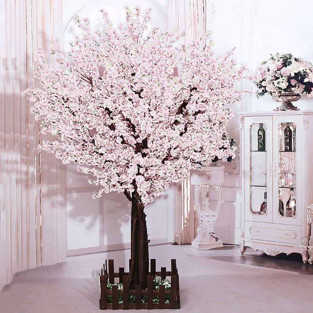 j-beauty Artificial Peach Blossom Trees Artificial White Cherry Blossom Tree, Silk Flower With True Tree Trunk (6feet Tall)