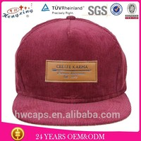 Boom Sell Red Corduroy 5 Panel Snapback Hat With Leather Patch On Alibaba