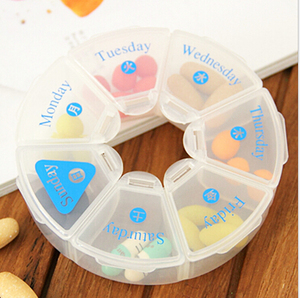 wholesale plastic travel pill box 7 days dispenser weekly