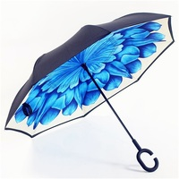 Windproof Reverse Straight Double Layer Auto Inverted Umbrella and Self Standing