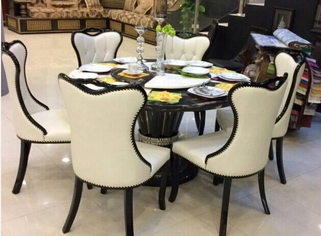 French Italian Style Dining Set ,round Dining Table With Marble Top