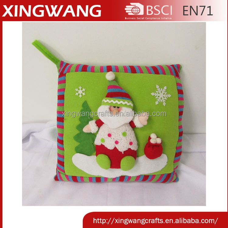 14inch hot item red green color series decorative christmas pillow with stuffed santa and snowman pattern