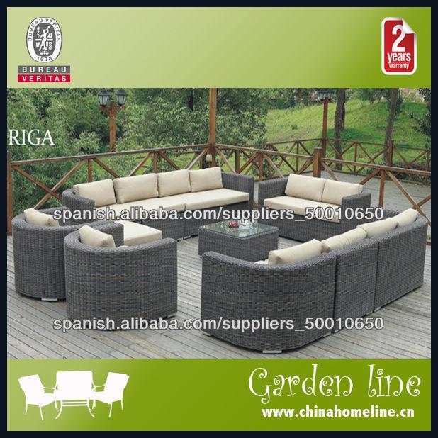 Sofá Rattan Sintético Con Cojines Conjunto Mueble De Jardín