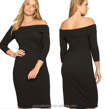 130222f98588 3 4 Sleeves Black Off Shoulder Plus Size Evening Dress For Fat Women ...