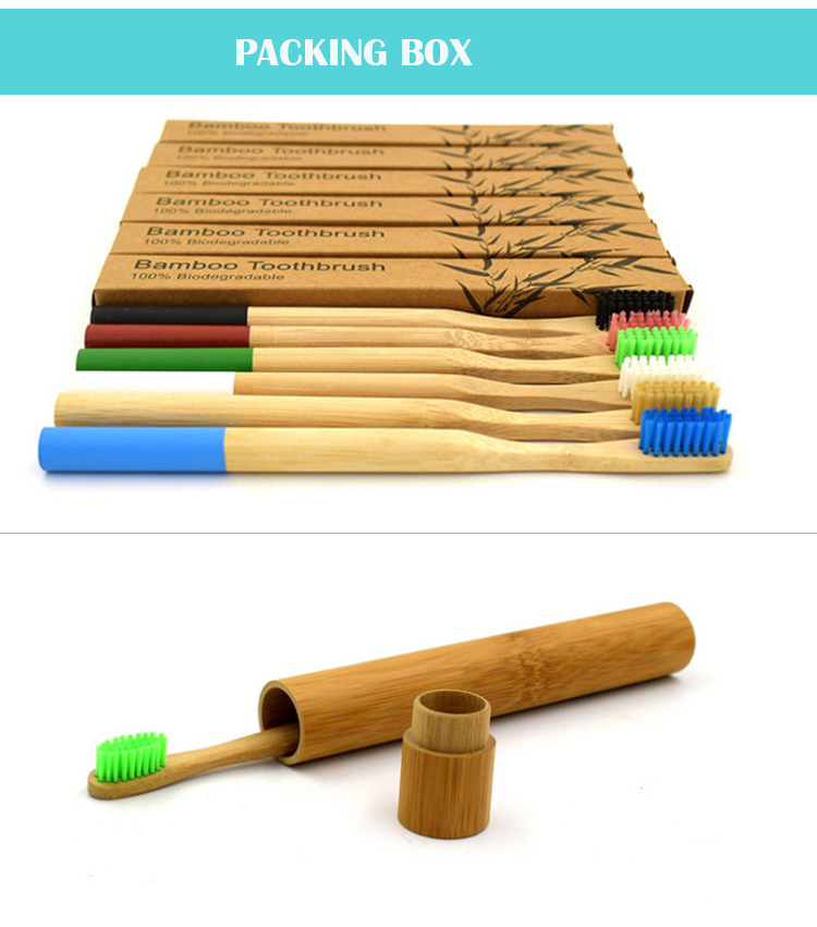 Nylon soft hair natural round handle custom bamboo toothbrush