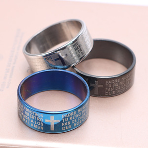 Blue/Black and silver Lord's Prayer Bible Rings Stainless Steel Cross Rings Wholesale Fashion Religious Jewelry Lots