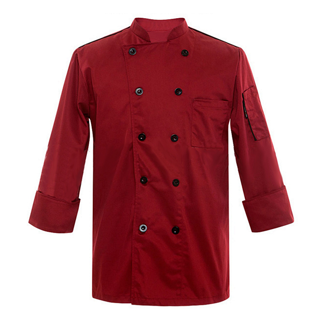 2019 New Red Turnover Sleeve Cuff Chef Jacket Cheap Wholesale Cooking Uniform For Men Formal Restaurant Uniforms