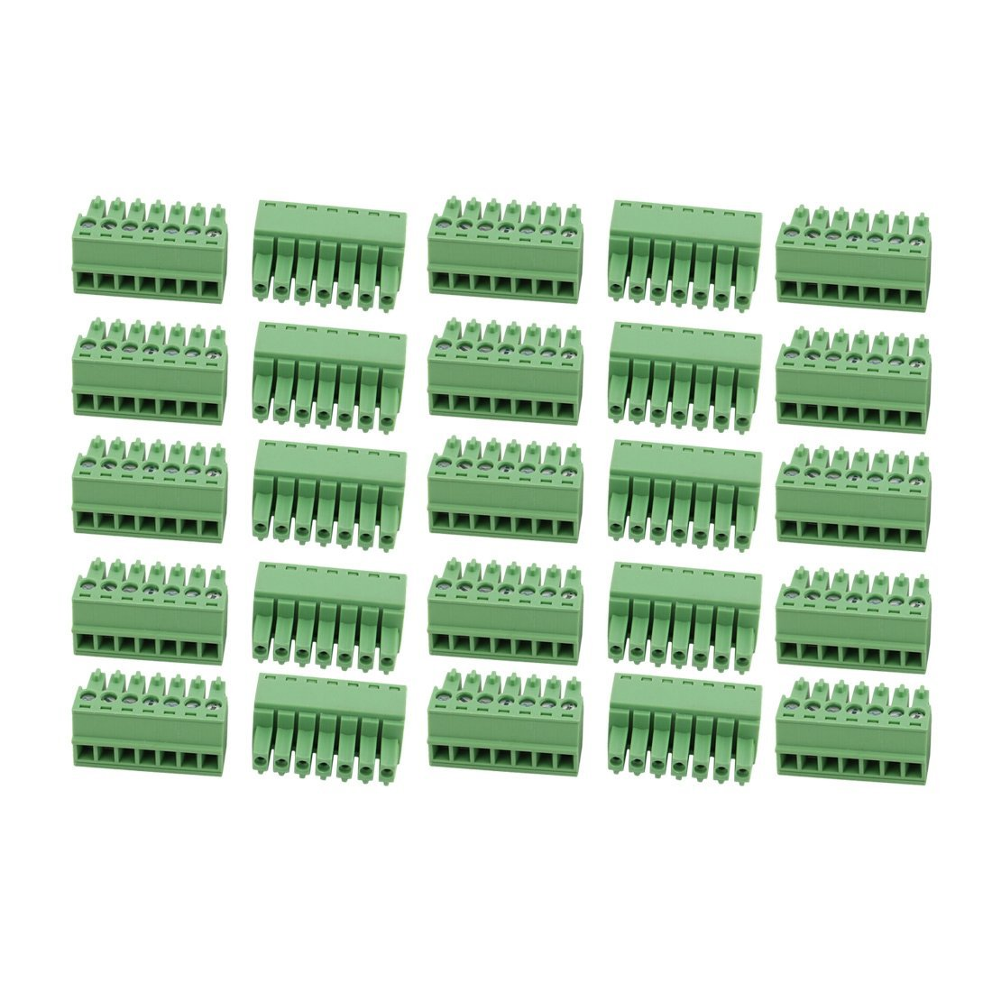 uxcell 25Pcs AC 300V 8A 3.5mm Pitch 7P Terminal Block Wire Connector for PCB Mounting
