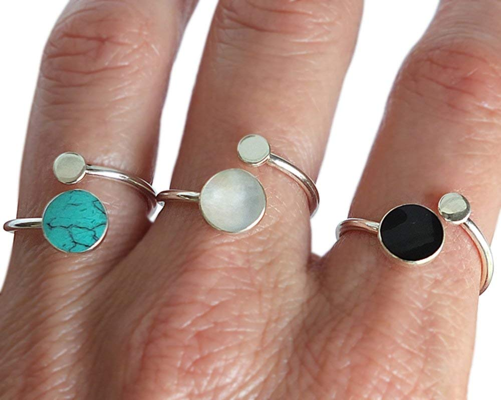 Sterling Silver Ring, Handmade Ring, Pebble and Circle Ring, Round Stone Ring, Pebble Ring, Free Size Ring, Adjustable Ring, Open Ring, Bright Silver Ring
