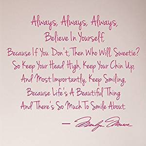 Buy Msy Marilyn Monroe Keep Smiling Wall Sticker Decal Quote With