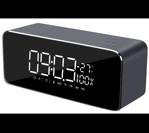 Stereo 2 channel radio alarm clock bluetooth speakers with metal case