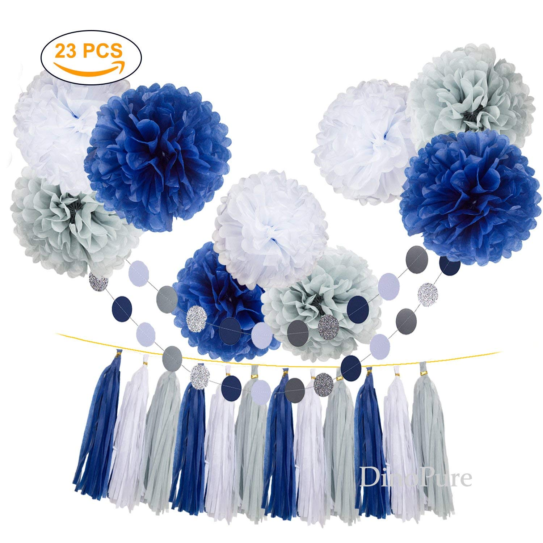 Tissue Paper Flowers Pom Poms Party Decorations Navy Blue White Grey Tassel Garland for Wedding Bridal Shower Graduation Bachelorette Celebrate First Birthday Graduate Supplies (Navy Blue-White-Grey)