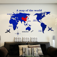 custom made family world map wall decals, large mural acrylic wall sticker