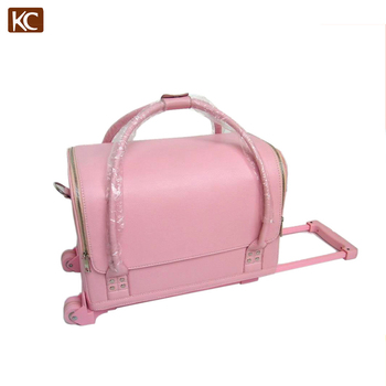 Trolley Pvc Pink Makeup Cases Wtih Handle Storage Cosmetic Case Hot Box