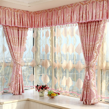 Hand Embroidery Designs Luxury Curtain 2016 Jacquard Pink Living Room Curtains
