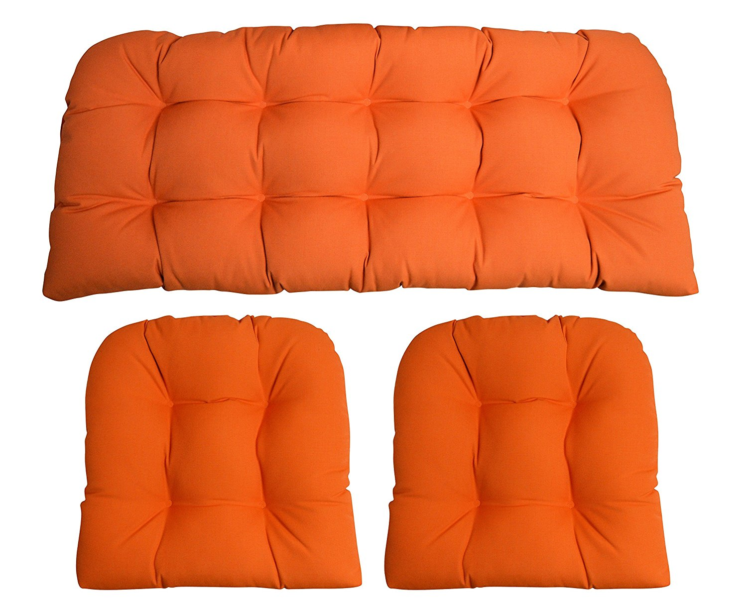 Sunbrella Canvas Tangerine Orange 3 Piece Wicker Cushion Set - Indoor / Outdoor Wicker Loveseat Settee & 2 Matching Chair Cushions