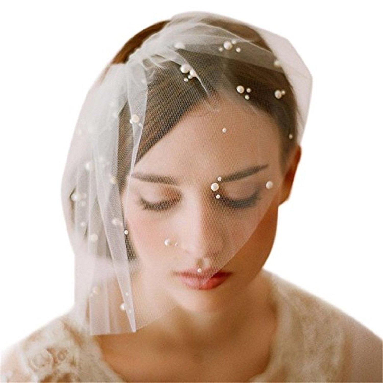 Adonis Pigou Short Birdcage Mesh Pearls Bridal Veils With Comb Wedding Accessories Headwear