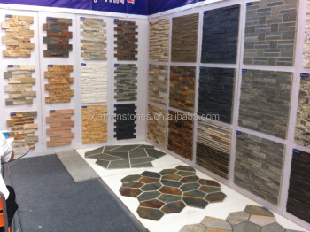 Cheap Interior Exterior Natural Slate Culture Stone Stacked Wall Imitation  Stone Tile