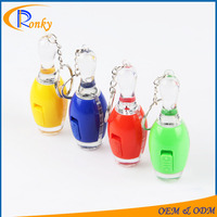 Cheap personalised gifts for christmas plastic bowling keyring promotional led keychain