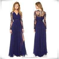Fancy Long Vintage Blue Long Sleeve Back Open Chiffon Evening Dress With Lace Patterns