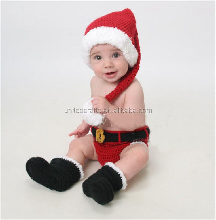 Crochet Navidad Traje Sombrero Y Pañal/pantalones Set Bebé Recién ...
