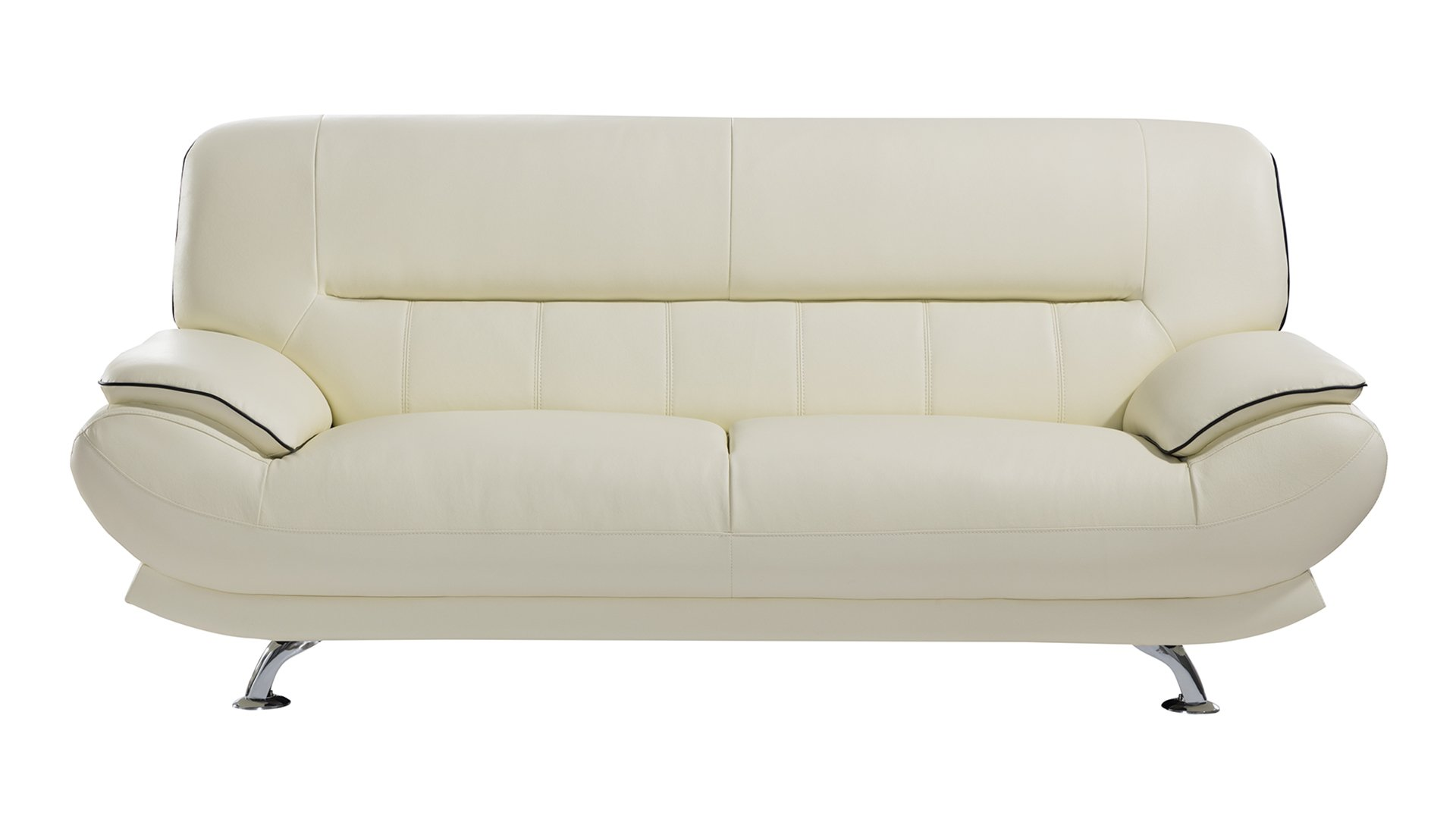 American Eagle Furniture Arcadia Collection Genuine Leather Living Room Sofa with Pillow Top Armrests, Ivory