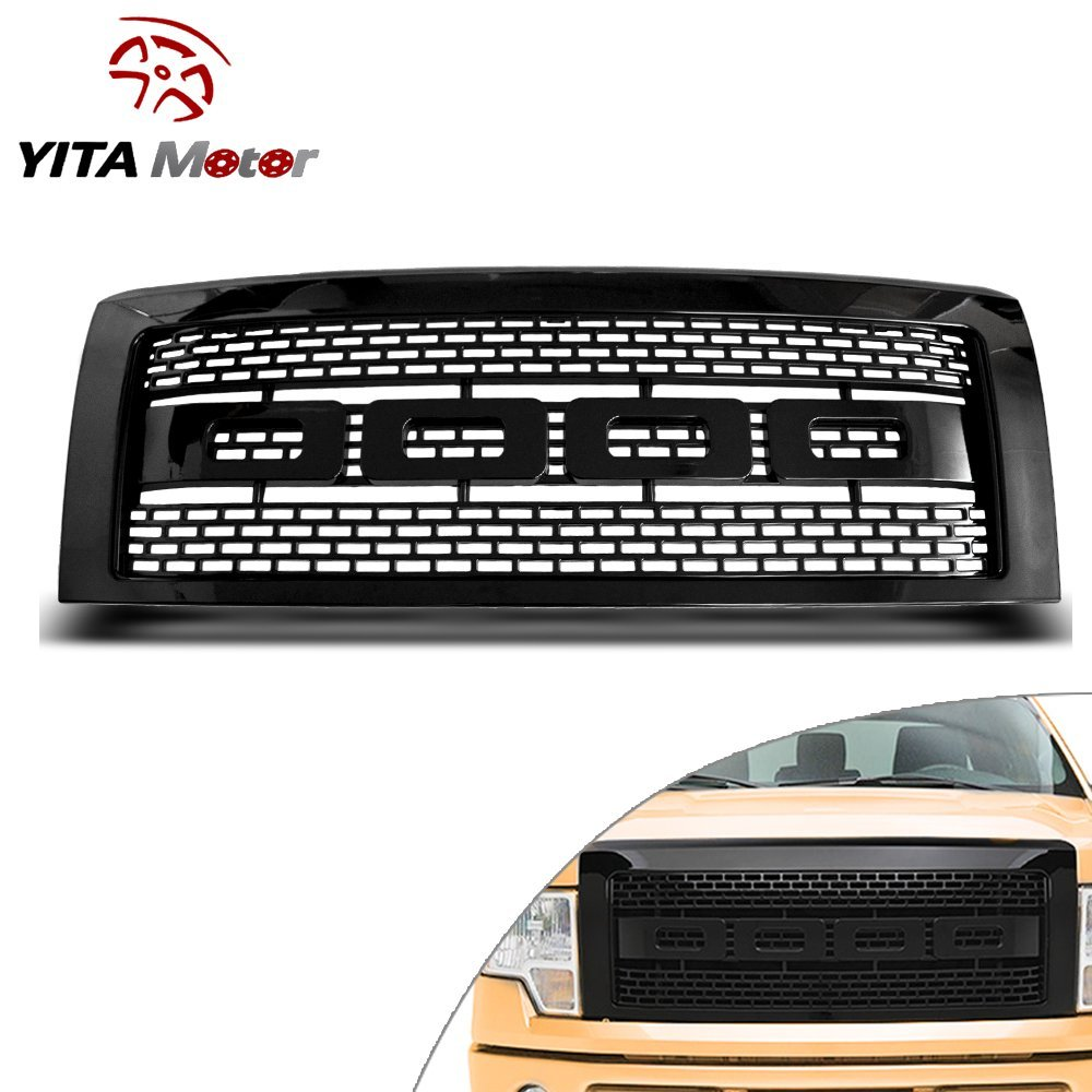 YITAMOTOR Glossy ABS Raptor Style Front Mesh Hood Grille Inserts for 09-14 Ford F150(Black)