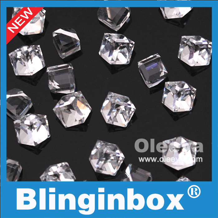 Oleeya factory wholesale 4mm New Square Crystal flat back Non hotfix Rhinestones for nail art
