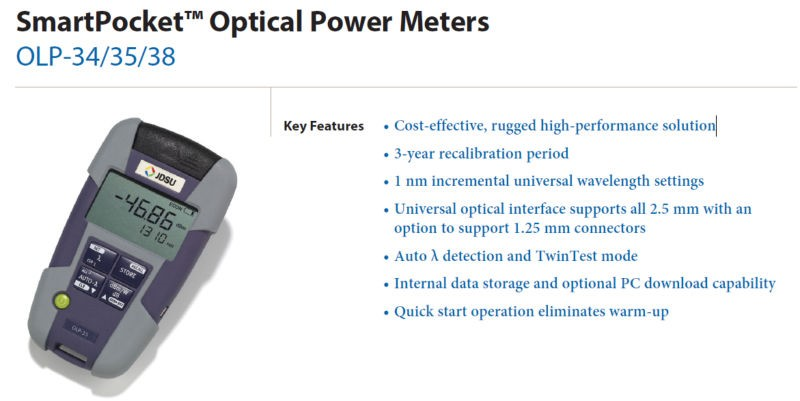 JDSU Fiber Optical Power Meter OLP-38