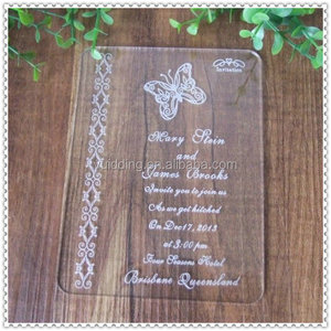 Elegant Wedding Clear Acrylic Butterfly Printed Invitation Cards