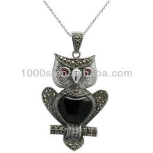 2013 fashion jewelry Owl onyx silver pendant for sweater