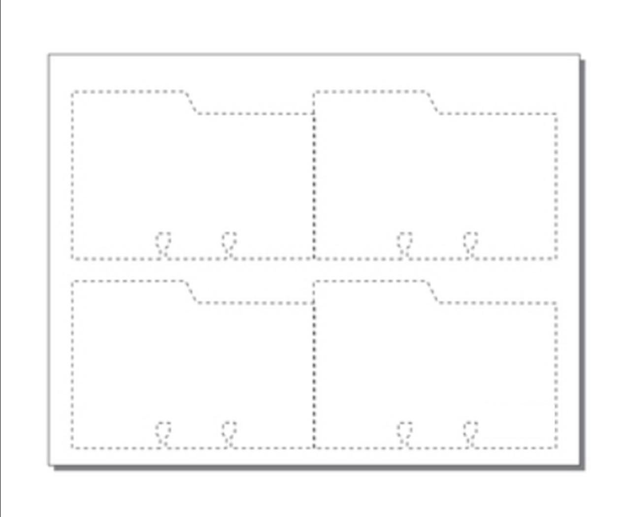 """Print-Ready Rotary File Cards w Left Tab (3"""" x 5""""), 4-UP, Die-Cut on 8-1/2"""" x 11"""" White 65lb Cover Paper - 250 Sheets (1,000 File Cards)"""