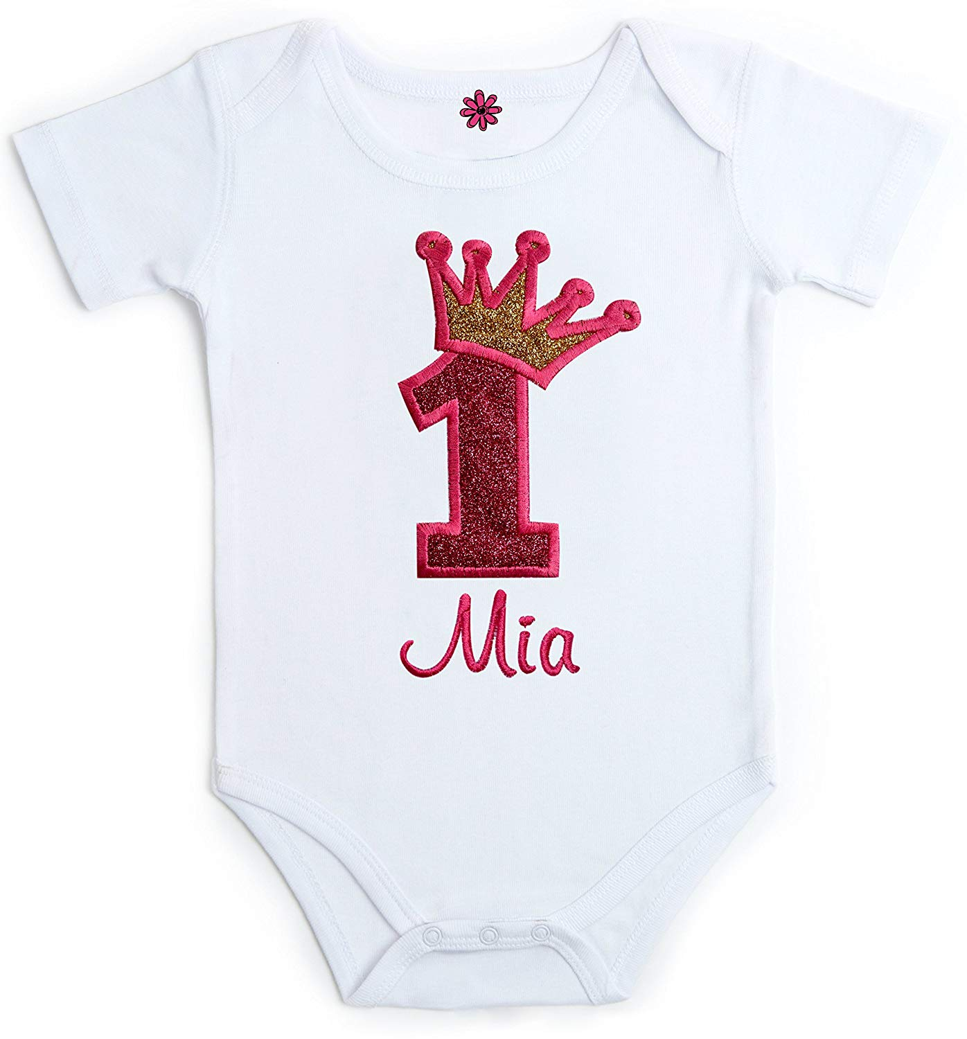 4de9ab07db1 Get Quotations · Funny Girl Designs Embroidered Sparkling First Birthday  Onesie Bodysuit for Baby Girl with Your Custom Name