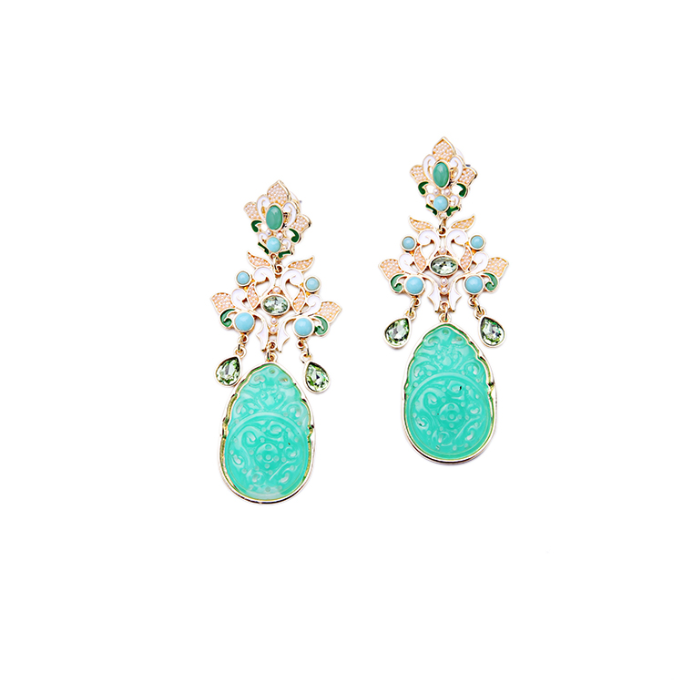 Artilady jewelry crystal green resin pearl beautiful fashion earring designs new model earrings for women