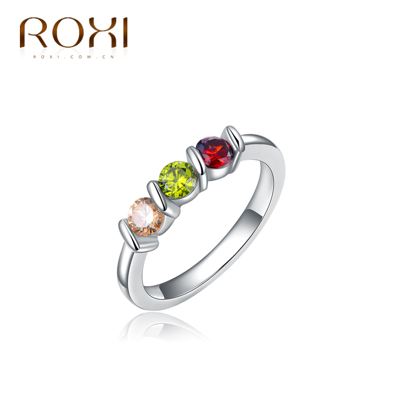 ROXI Delicate White Gold plated Color Micro Inserted Jewelry for women men High Polish Wedding band