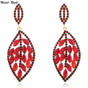 Women Fashion Statement Earrings Colorful Rhinestone Leaf Pendant Summer Style Dangle Earring SP378